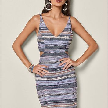 Cut Out Mini Dress in Blue Multi | VENUS