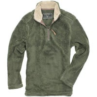 Pebble Pile Pullover 1/2 Zip in Vintage Olive by True Grit