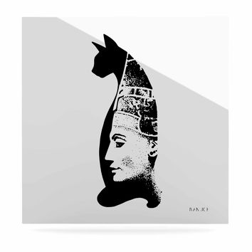 "Ivan Joh ""Cat Egyptian"" Black White Illustration Luxe Square Panel"