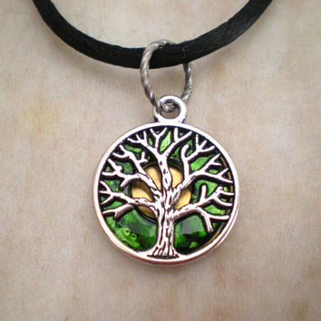 Tree of Life Necklace: Emerald Green - Tree Jewelry - Upcycled Jewelry - Celtic Jewelry - Spring Jewelry - Tree Necklace - Wiccan Jewelry
