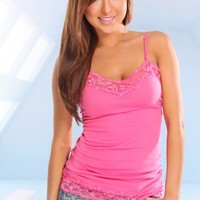 FUCHSIA V NECK LACE TRIM CAMISOLE TANK TOP