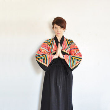 geometric Vanity Fair mens robe . plush black and neon triangles .medium.large