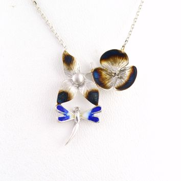 925 Sterling Silver Rhodium Plated Dragonfly Flower Necklace