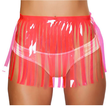 Hot Pink Vinyl Fringe Skirt