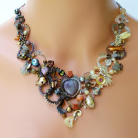 Freeform Peyote Necklace Tears of the Moon by PeyoteBeadArt