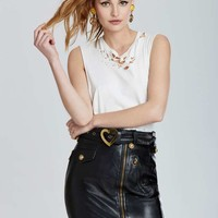 Vintage Moschino Turin Leather Skirt