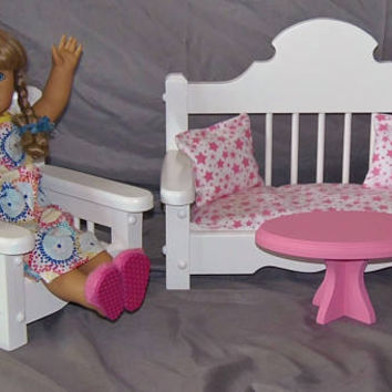 Doll sofa, chair and coffee table set perfect for American Girl Doll and all 18 inch dolls