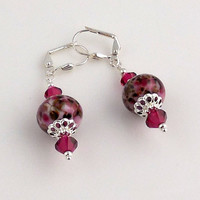 Red Crystal and Silver Lampwork Earrings, Dangle Earrings, Beaded Earrings, Drop Earrings, Gifts, Women's Jewelry, Holiday Jewelry