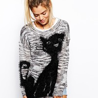 Katsumi Sweater With Cat Design - Gray