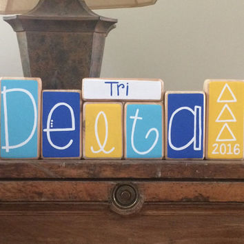 Tri Delta Sorority Decorative Blocks