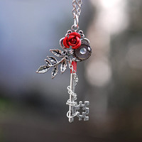 Winter Rose Key Necklace - 166