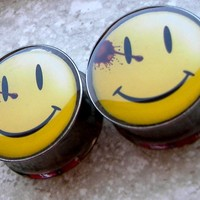 Pierced and Belligerent The Comedian Button Plugs - The Watchmen