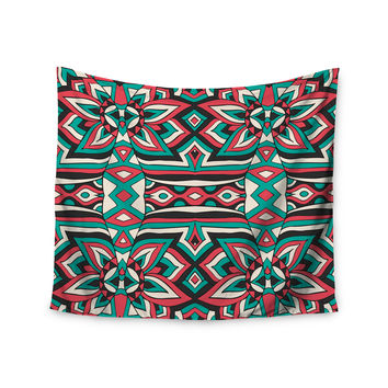 "Pom Graphic Design ""Ethnic Floral Mosaic"" Teal Red Wall Tapestry"