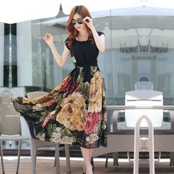 Bohemian Style Short Sleeve Long Chiffon Dress