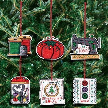 "Sewing Ornaments Counted Cross Stitch Kit 3""X3"" 14 Count Set Of 6"