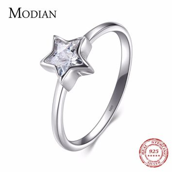 Modian 2018 New White Zirconia Star Finger Jewelry Authentic 925 Sterling Silver Ring Fashion Simple Rings For Women Wedding