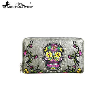 Montana West Sugar Skull Collection Wallet-Pewter