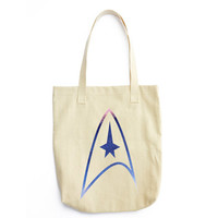 Watercolor Starfleet Inspired Insignia Canvas Tote Bag  - Star Trek Inspired