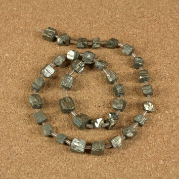 Pyrite Cube Beads - Slightly Rough Fools Gold Beads, 7x7mm, 16 inch strand