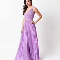 Lilac Pleated Chiffon Illusion Deep V-Neck Grecian Long Dress 2016 Prom Dresses