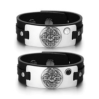 Wolf Paw Celtic Shield Knot Love Couples White Simulated Cats Eye Simulated Onyx Black Leather Bracelets