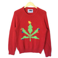 8-Bit Weed Pot Leaf Tacky Ugly Christmas Sweater