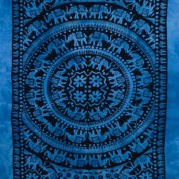 Blue Tie Dye Elephant Mandala Tapestry, Living Room Tapestry, Hand Made Bed Sheet, Hippy Wall Hanging, Picnic Beach Sheet, Table Runner. (Blue tie & dye)