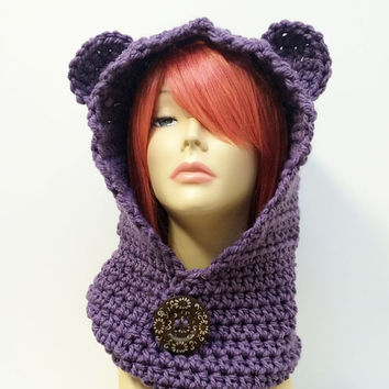 RESERVED for ERICA LOCKE - Bear Hood, Bear Cowl, Bear Hat - Light Purple