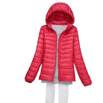 Tengo Winter Women Lightweight Hooded Down Puffer Jacket large size