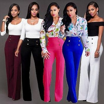 Casual Women Ladies Palazzo Plain Flared Wide Leg Loose High Waist Full Pants leggings Baggy Trousers