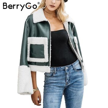 Trendy BerryGo Casual lamb fur coats women Turn-down pocket fake fur jacket female furry leather jacket winter 2017 Army green overcoat AT_94_13