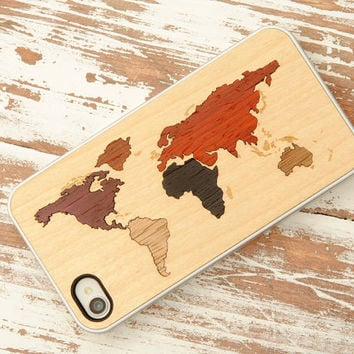World Map Inlay iPhone 4/4S Clear Case - FREE Shipping