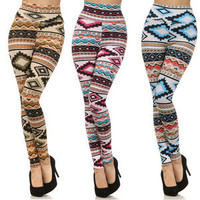 New ! HIGH WAISTED Colorful AZTEC Tribal Printed Fashion Leggings Pants Tights