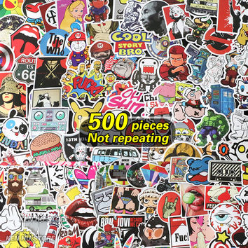 500 pcs Not repeating waterproof stickers for Wall decor skateboard fridge motorcycle Bike refrigerator laptop car stickers