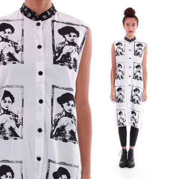 Deadstock NWT Tunic Blouse Black and White Printed Lady Face with Mandolin Long Unique 80s 90s Dress 0s Vintage Clothing Womens Size Medium