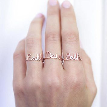 Customized Jewelry Rose Gold Color Personalized Letter Ring 2018 Stainless Steel Dainty Custom Name Rings For Women Bague Homme