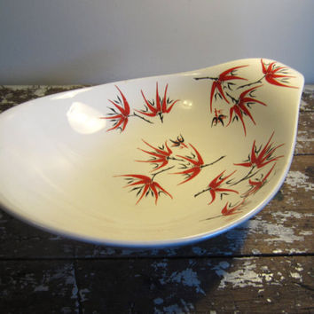 Mid Century Eva Zeisel Hall Hallcraft Lug Handle Bowl Holiday Pattern Red and Black