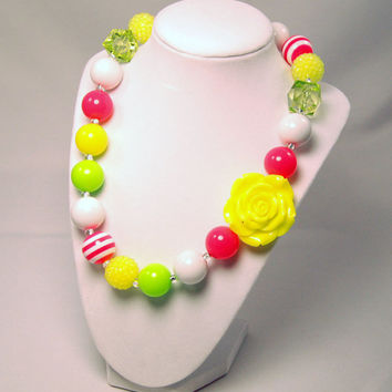 Girls Neon Boutique Jewelry Neon Green, Pink and yellow Beaded Necklace Flower