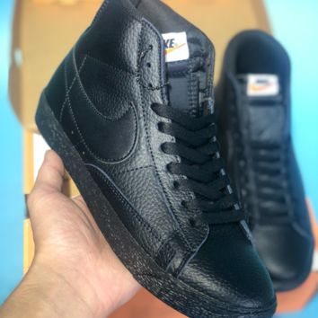 HCXX N368 Nike Blazer Mid Leather Casual Skate Shoes Black