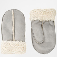 New Look Shearling Mittens in Gray