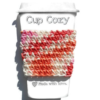 Candy Crochet Coffee Cup Cozy, Travel Mug Sleeve, Cup Coozie, Can Koozie, Eco Friendly, Reusable, Great Gift, Stocking Stuffer