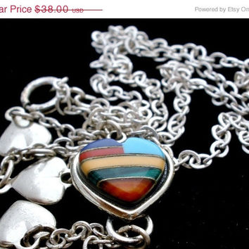 """Big Sale Vintage Sterling Silver Heart Necklace Signed Wm Co Inlay Malachite Turquoise 18"""""""