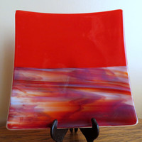 Large Glass Serving Dish, Handmade Fused Glass, Red Dish, Statteam