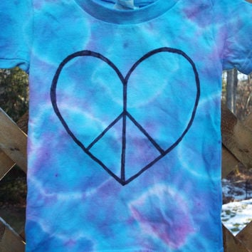2T  Girls Peace Heart Shirt, Toddler Girls Shirt w Peace Sign, Hippie Kids Clothes, 24M Baby Girls Tie Dye Shirt, Toddler Tie Dye Tshirt