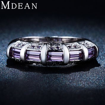 MDEAN White gold plated Purple Amethyst Jewelry AAA Zircon Diamond Engagement Bijoux Wedding Rings for women MSR244