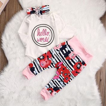 Newborn Baby Girl Clothes Costume Bodysuit Tops Cotton Hello World Flower Leggings Pants Headband 3pcs Baby Girls Outfits Set
