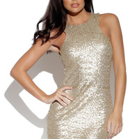 Gold Sequin Sleeveless Bodycon Mini Dress with Racerback