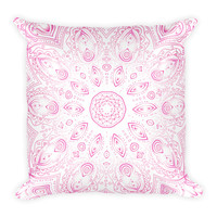 Pink Mandala Design Throw Pillow 18 X 18 Filled Pillow Boho Home Decor