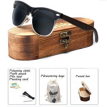 Ablibi Bamboo Wood Semi Rimless Sunglasses with Polarized Lenses Unique Mens Shades UAV UAB Protective, with Wood Sunglasses Cas
