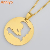 Anniyo Haiti Map Pendant Necklaces for Women/Girls,Ayiti Gold Color Jewelry Gifts Map of Haiti Ornament Items #012621